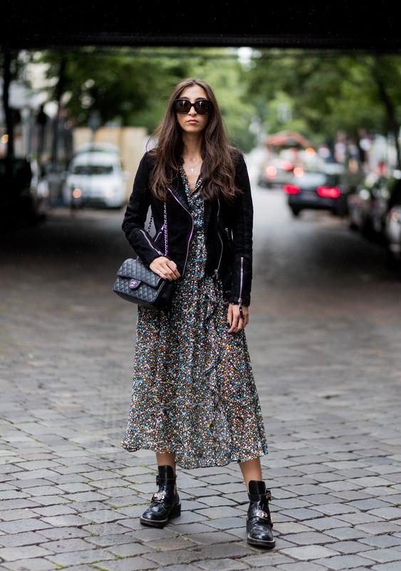 Midi dress with leather jacket