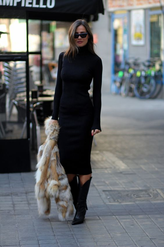 Outfits with sheath dress and boots