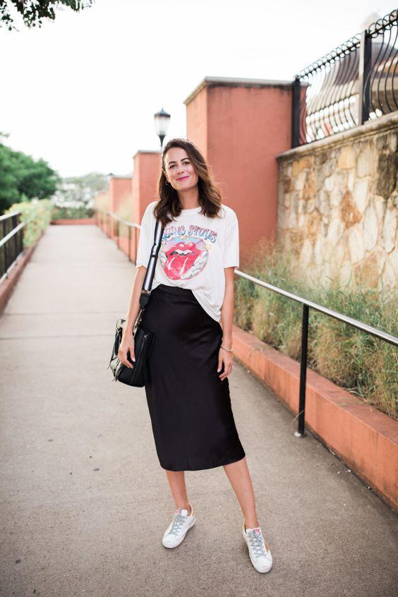 Combine watered down shirt with midi skirt
