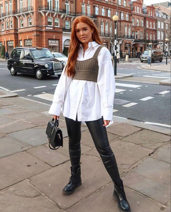 Leather leggings with oversized shirts
