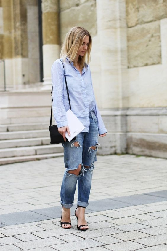 Looks with blue oversize shirts