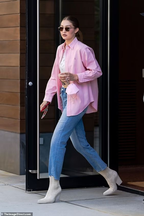 Look ideas with oversized pink shirts