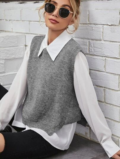 Combine oversized shirts with vests